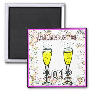 CELEBRATE 2012 CHAMPAGNE CONFETTI PRINT 2 INCH SQUARE MAGNET