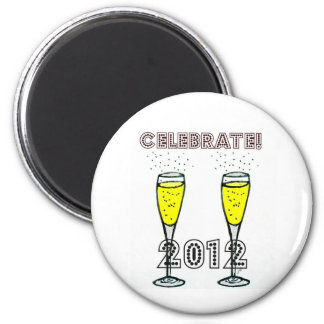 CELEBRATE 2012 CHAMPAGNE FLUTES PRINT 2 INCH ROUND MAGNET