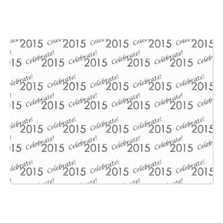 Celebrate 2015 New Year's Silver on White Business Card Template