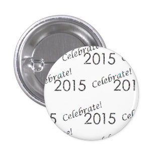 Celebrate 2015 New Year's Silver on White Pin