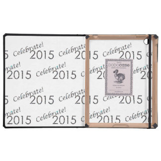 Celebrate 2015 New Year's Silver on White iPad Cover