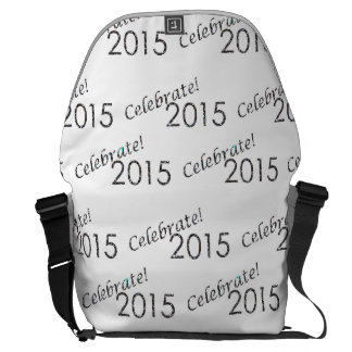 Celebrate 2015 New Year's Silver on White Courier Bags