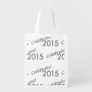 Celebrate 2015 New Year's Silver on White Grocery Bag