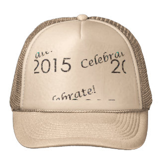Celebrate 2015 New Year's Silver on White Trucker Hat