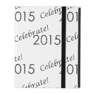 Celebrate 2015 New Year's Silver on White iPad Covers