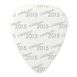 Celebrate 2015 New Year's Silver on White Polycarbonate Guitar Pick