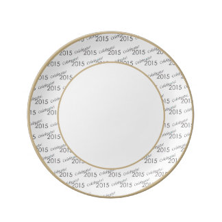 Celebrate 2015 New Year's Silver on White Porcelain Plate