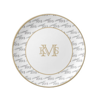 Celebrate 2015 New Year's Silver on White Porcelain Plates