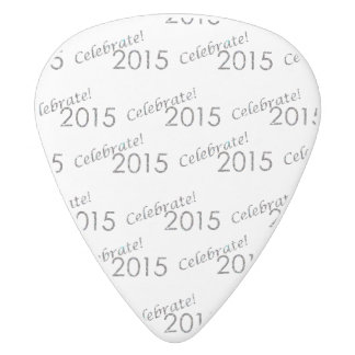 Celebrate 2015 New Year's Silver on White White Delrin Guitar Pick