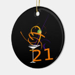 Celebrate 21ST Cocktail Double-Sided Ceramic Round Christmas Ornament