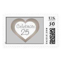 Celebrate 25 silver anniversary white and silver postage