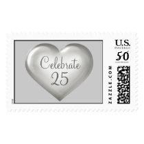 Celebrate 25 silver glass heart postage