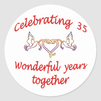 CELEBRATE 35 YEARS TOGETHER CLASSIC ROUND STICKER