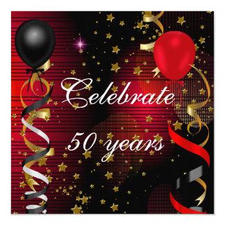 Celebrate 50 50th Birthday Party Black Red Stars 5.25x5.25 Square Paper Invitation Card
