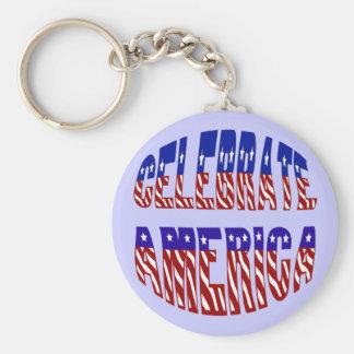 Celebrate America Flag Font #1 Keychain Basic Round Button Keychain