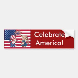 Celebrate American Flag Bumper Sticker