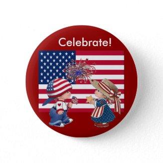 Celebrate American Flag button