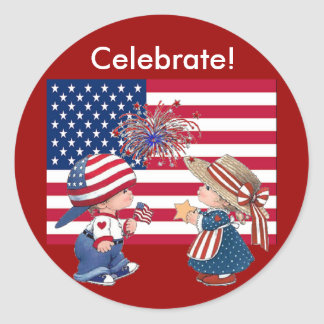 Celebrate American Flag Classic Round Sticker