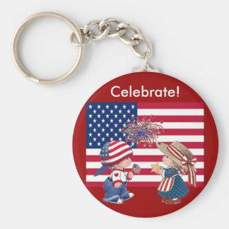 Celebrate American Flag Keychain