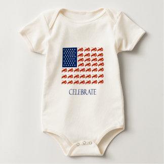 Celebrate American Flag Lobster Baby Bodysuit