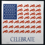 "Celebrate American Flag Lobster Cloth Napkin<br><div class=""desc"">Starfish on blue and red lobster stripes in American flag design.</div>"