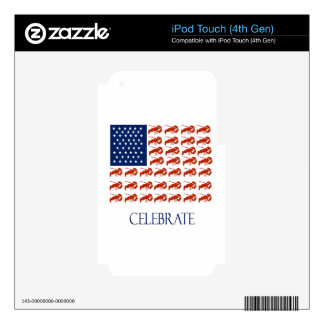 Celebrate American Flag Lobster Decals For iPod Touch 4G