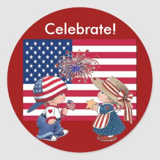 Celebrate American Flag sticker