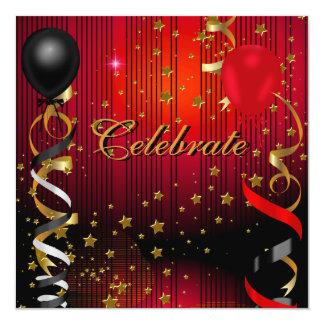 "Celebrate Birthday Party Black Red Stars 5.25"" Square Invitation Card"