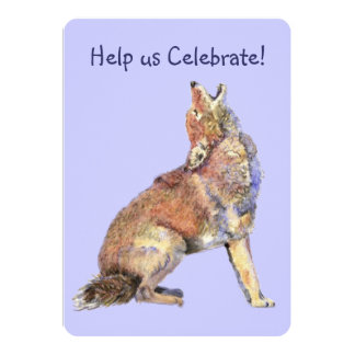 Celebrate Birthday Party Howling Coyotes Fun 5x7 Paper Invitation Card