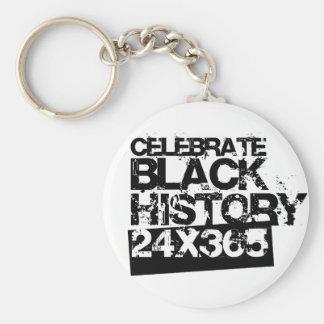 CELEBRATE BLACK HISTORY 24x365 Basic Round Button Keychain