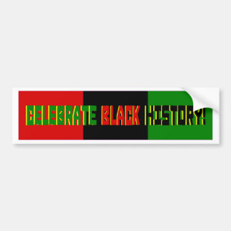 Celebrate Black History--Red, Black & Green Banner Bumper Sticker