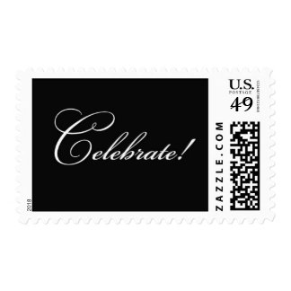 Celebrate - Black Postage Stamp