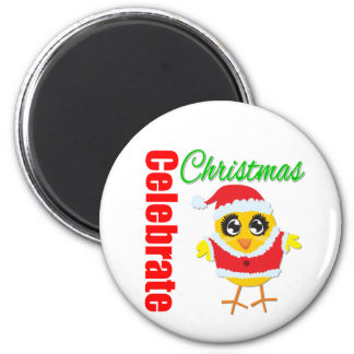 Celebrate Christmas Santa Chick 2 Inch Round Magnet