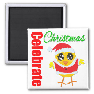 Celebrate Christmas Santa Chick 2 Inch Square Magnet
