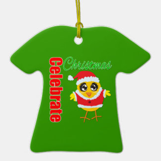 Celebrate Christmas Santa Chick Double-Sided T-Shirt Ceramic Christmas Ornament