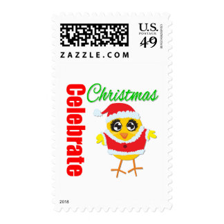 Celebrate Christmas Santa Chick Postage Stamps