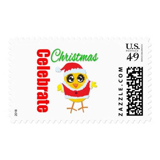 Celebrate Christmas Santa Chick Postage
