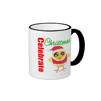 Celebrate Christmas Santa Chick Ringer Coffee Mug