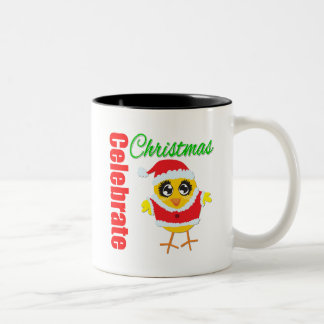 Celebrate Christmas Santa Chick Two-Tone Coffee Mug