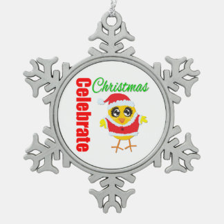 Celebrate Christmas Santa Claus Chick Snowflake Pewter Christmas Ornament