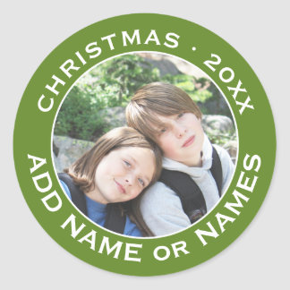 Celebrate Christmas with Your Favorite Photo Classic Round Sticker