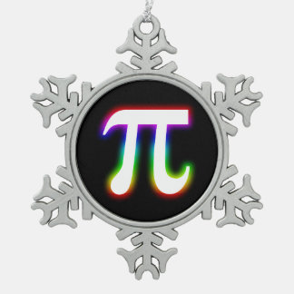 Celebrate Colorful Glow Pi Symbol   Geek Snowflake Pewter Christmas Ornament