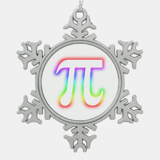 Celebrate Colorful Glow Pi Symbol | Geek Snowflake Pewter Christmas Ornament