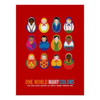Celebrate Culture & Diversity One World Many Color Poster