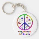 Celebrate Diversity Basic Round Button Keychain