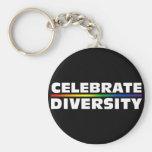 Celebrate Diversity Black Keychain