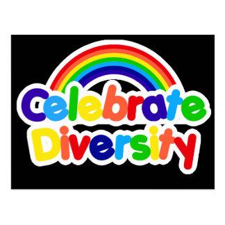 Celebrate Diversity Gay Pride Rainbow Postcard