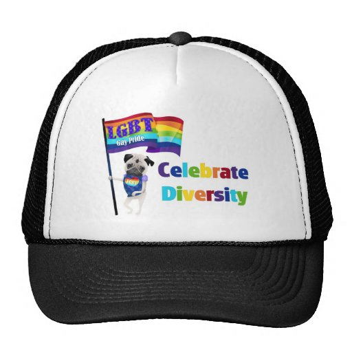 Celebrate Diversity Pug Tees and Gifts 2013 Mesh Hat