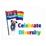 Celebrate Diversity Pug Tees and Gifts 2013 Postcard