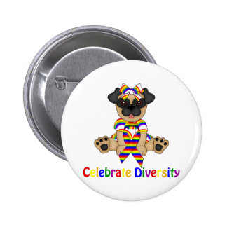 Celebrate Diversity Pug Tees and Gifts Button
